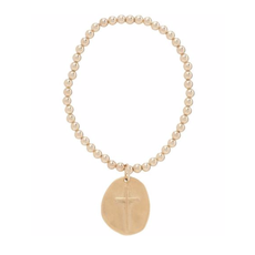 E Newton CLASSIC GOLD 4MM BEAD BRACELET - INSPIRE GOLD CHARM