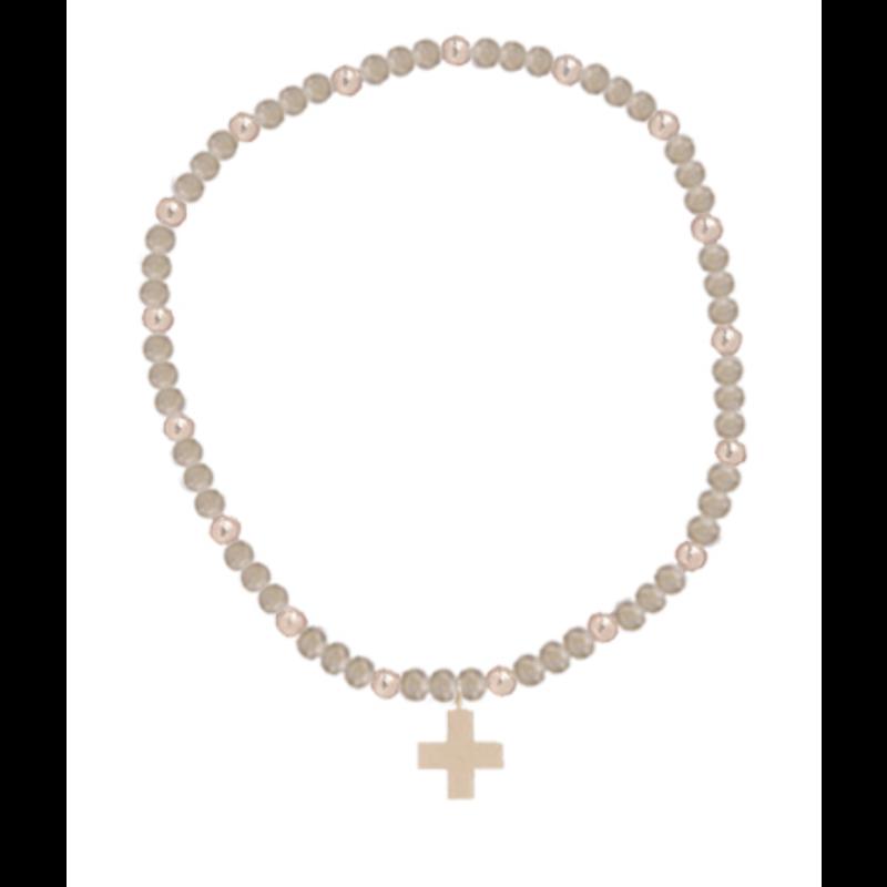 E Newton Labradorite Sincerity Pattern 3mm Bead Bracelet - Gold - Signature Cross Gold Charm