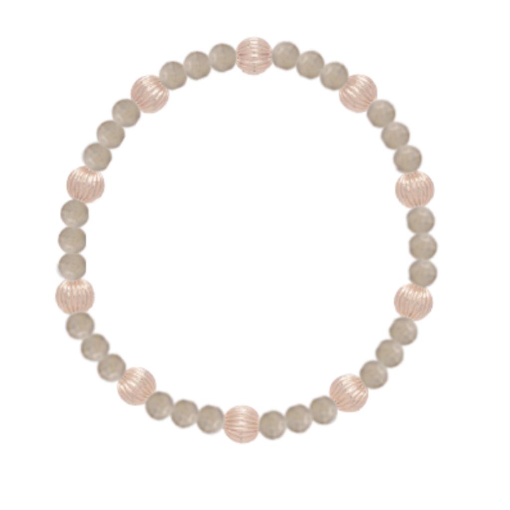 E Newton Labradorite Sincerity Pattern 4mm Bead Bracelet - Dignity Gold 6mm