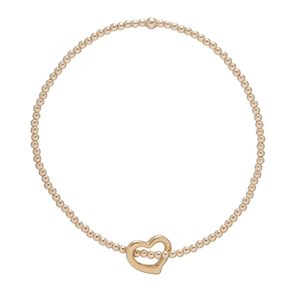 E Newton CLASSIC GOLD 2MM BEAD BRACELET - LOVE GOLD CHARM