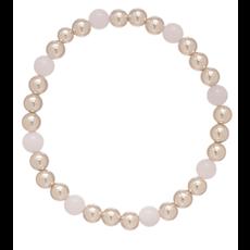 E Newton Gold Sincerity Pattern 6mm Bead Bracelet - Rose Quartz