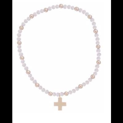 E Newton Rose Quartz Sincerity Pattern 3mm Bead Bracelet - Gold - Signature Cross Gold Charm