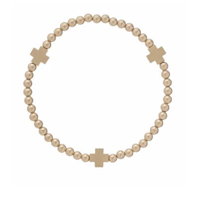 E Newton SIGNATURE CROSS MATTE GOLD PATTERN 4MM BEAD BRACELET - GOLD