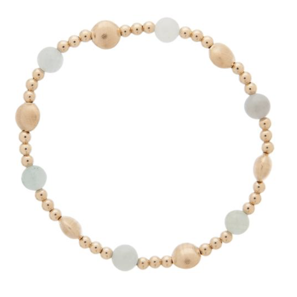 E Newton Honesty Gold Sincerity Pattern 6mm Bead Bracelet - Aquamarine