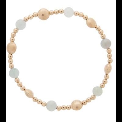 E Newton Honesty Gold Sincerity Pattern 6mm Bead Bracelet - Aquamarine