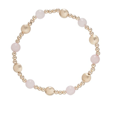 E Newton Honesty Gold Sincerity Pattern 6mm Bead Bracelet - Rose Quartz