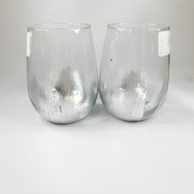 ELM Designs Silver Leaf Stemless Wine Glass ELM