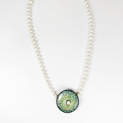 Catherine DeYoung Enamels Oyster & Pearl Hammered Copper Enamel Necklace