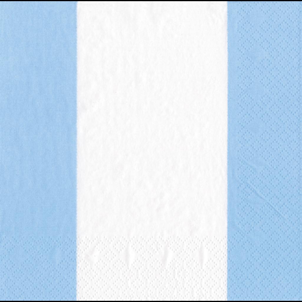 Caspari Bandol Stripe Light Blue Cocktail