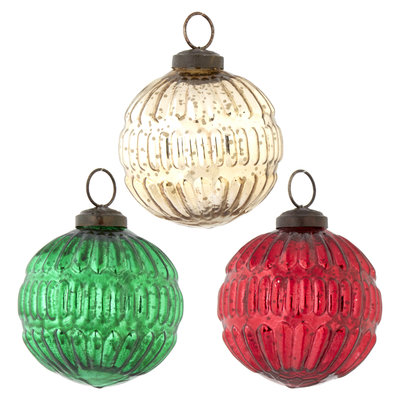 Raz Grooved Ball Ornament