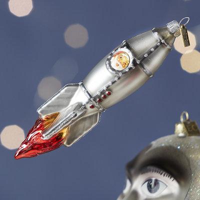 Raz EC 5.75'' Rocket Santa Ornament