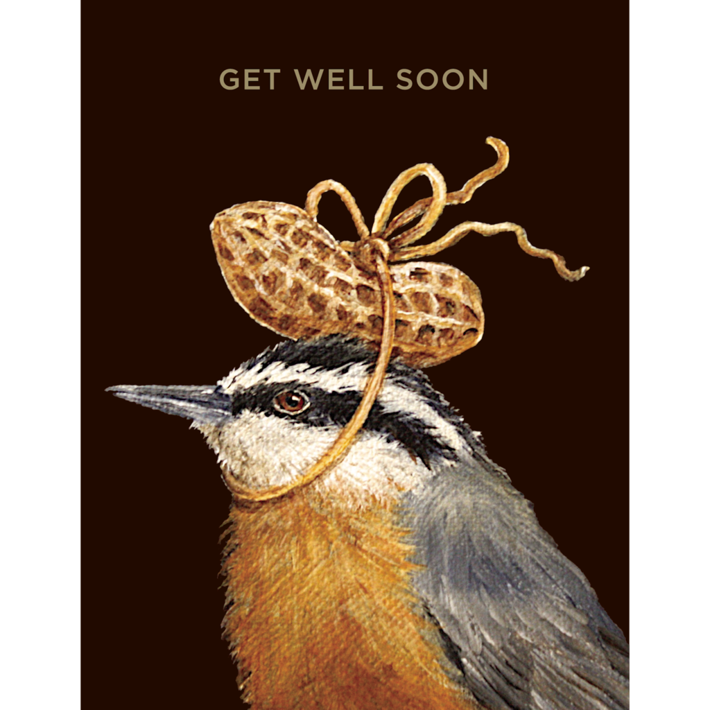 Hester and Cook Hester and Cook Get Well Peanut Card - Gold Foil - ''Get Well Soon''