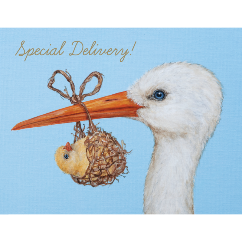 Hester and Cook Hester and Cook Baby Stork Card - Gold Foil - ''Special Delivery!''