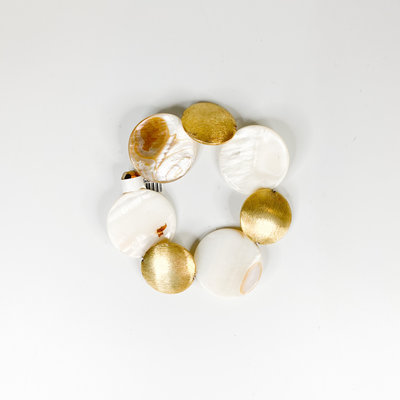 Ali and Bird Pearl and Gold Coin Bracelet