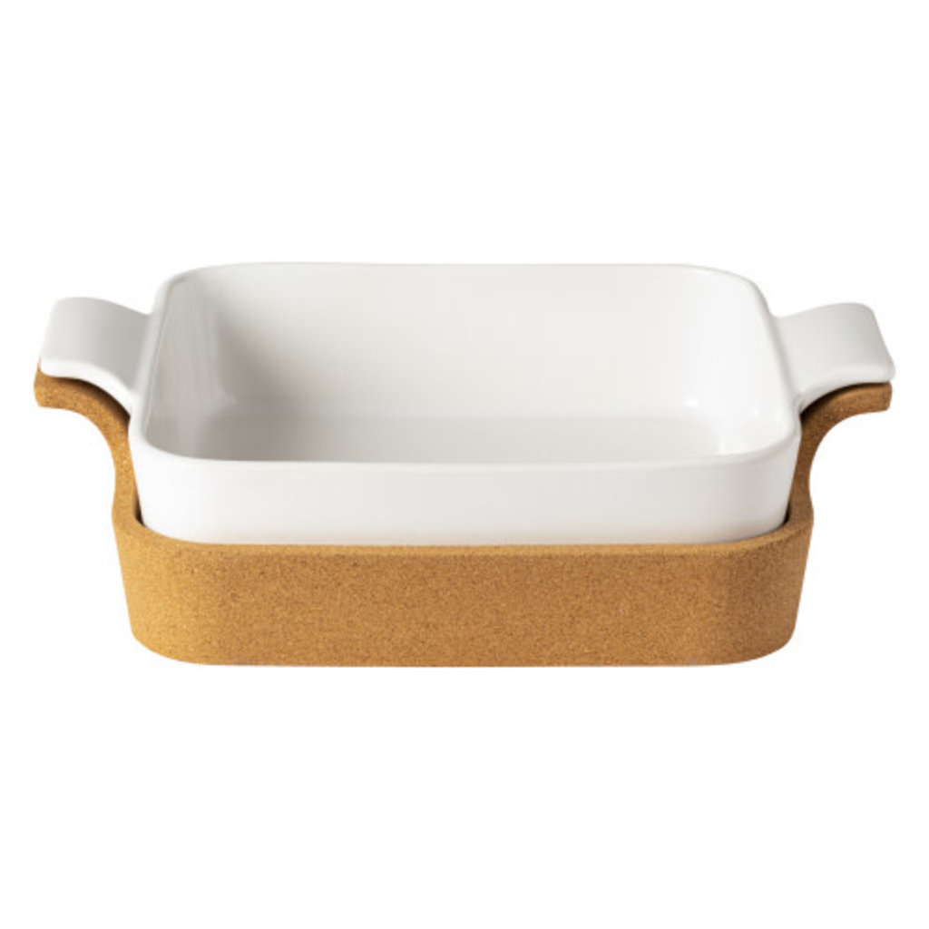 Casafina Square Baker with Cork Tray- White