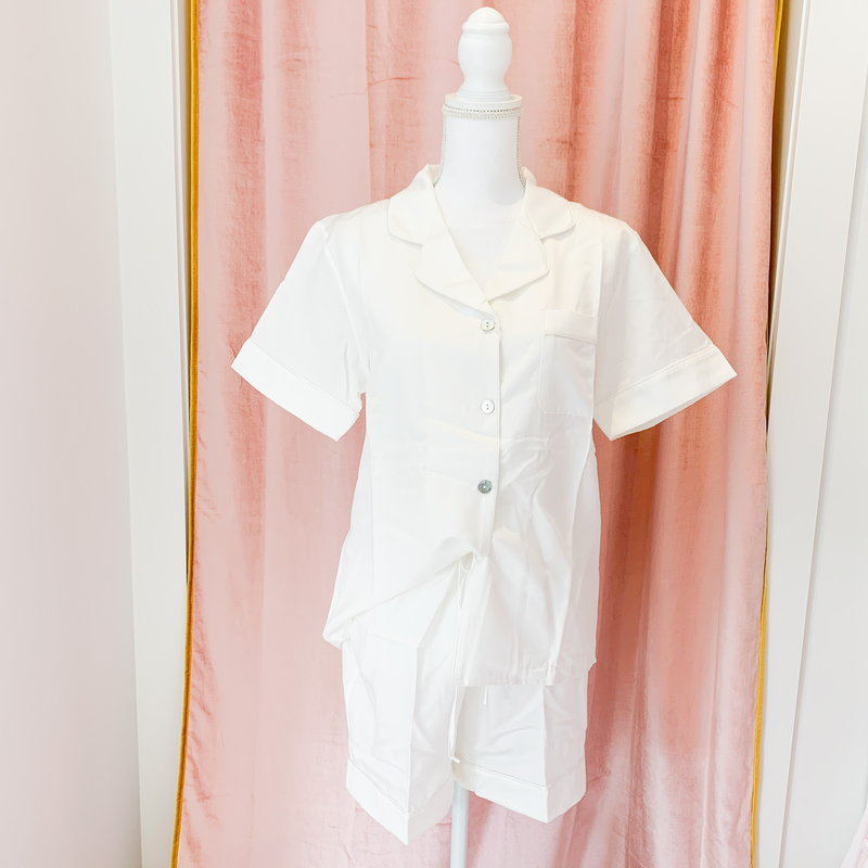 Silk Story Silk Story Pajama Shorts - Silk-Cotton -Large- White w/ White Piping Large