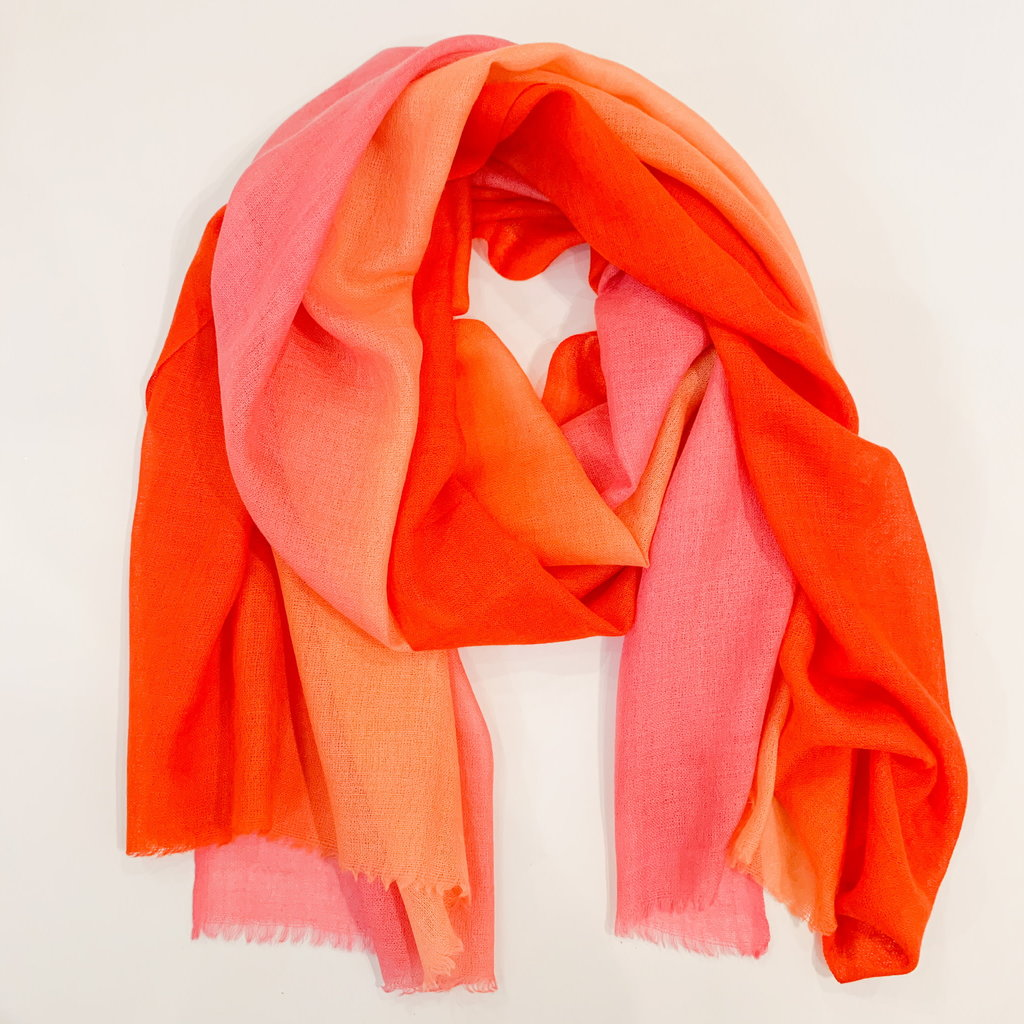 Oliphant Ombre Orange Scarf Wool/Silk Blend