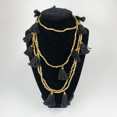 Oliphant Black and Gold Tassel Necklace