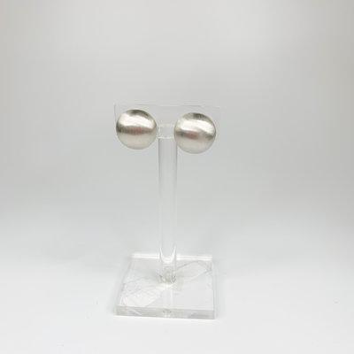 Lordane Silver Satin Dome Clip Earring 83E5499