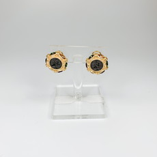 Lordane Gold with Colored CZ Button Earring 22E4780