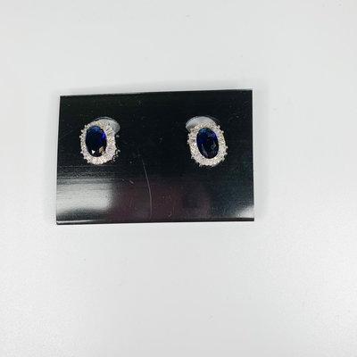 Lordane Sapphire Oval w/ CZ Halo Clip Earring 83E8524