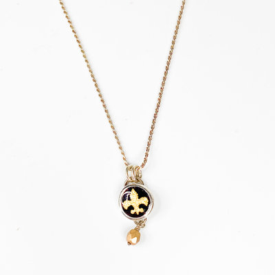Catherine DeYoung Enamels Cathy DeYoung Enamel Saints with 24K Fleur de Lis, Sterling Chain
