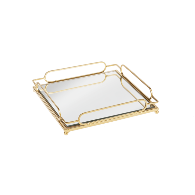 Ganz Gold Loop Mirror Tray Large