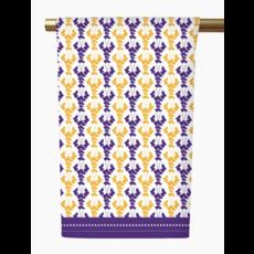 Honey and Hank Louisiana Crawfish Tea Towel purple/gold