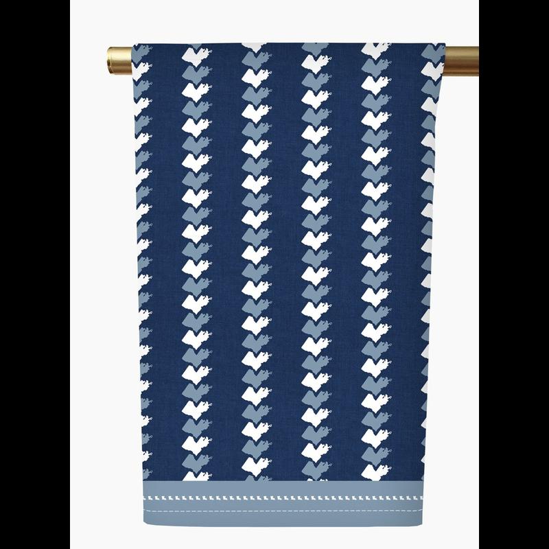 Honey and Hank Louisiana Stripe Tea Towel-navy
