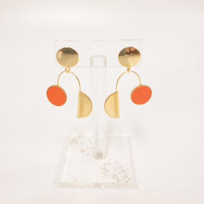 Sandy Hyun Orange Leather Abstract Earring