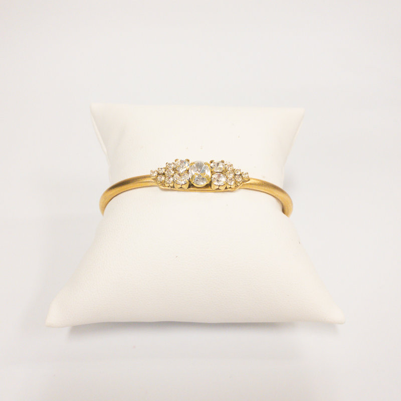 Sandy Hyun Gold Cuff Bracelet with Oval Stone