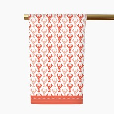 Honey and Hank Louisiana Crawfish Tea Towel Coral