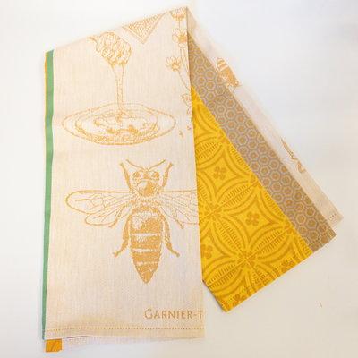 Garnier Thiebaut ''Miel Et Abeilles Ocre Kitchen Towel 22''''x30'''', 56cmx77cm, 100% Cotton''