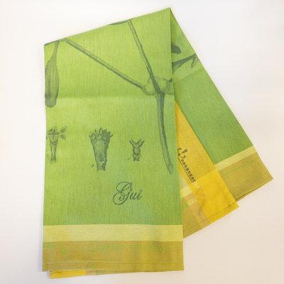Garnier Thiebaut ''Gui Botanique Vert Kitchen Towel 22''''x30'''', 56cmx77cm, 100% Cotton''