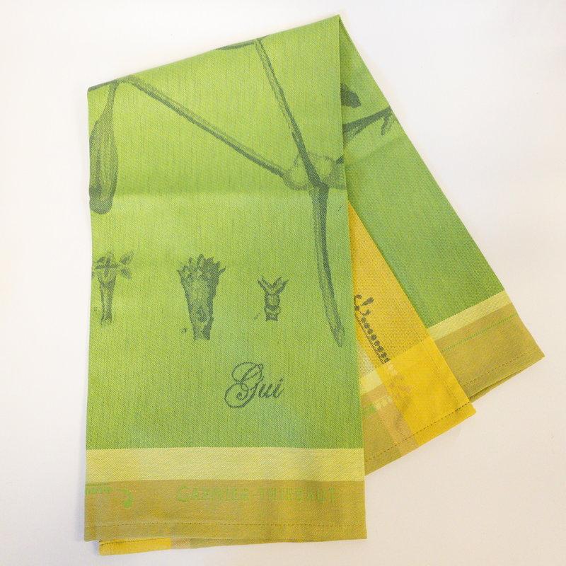 Garnier Thiebaut 'Gui Botanique Vert Kitchen Towel 22''''x30'''', 56cmx77cm, 100% Cotton''