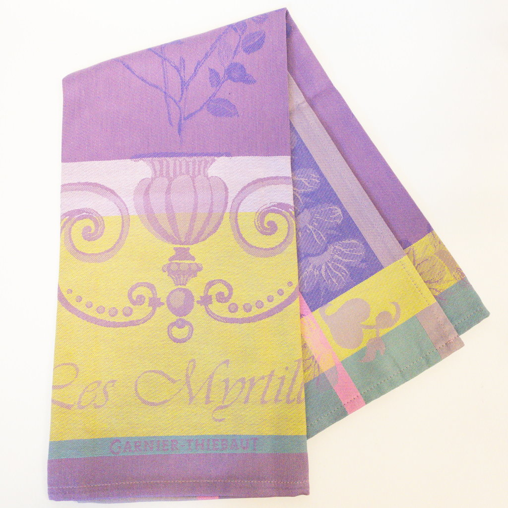 Garnier Thiebaut 'Myrtilles Violet Kitchen Towel 22''''x30'''', 56cmx77cm, 100% Cotton''