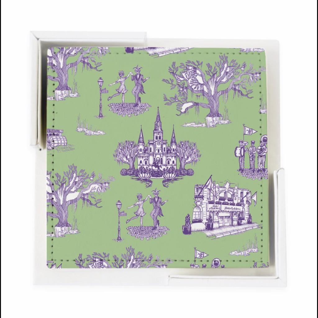 Katie Kime New Orleans Toile Coaster Set- Green Lavender