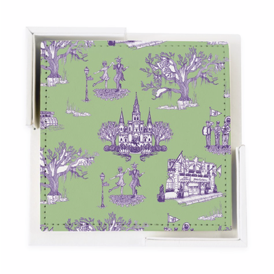 Katie Kime New Orleans Toile Coaster Set- Green Lavender