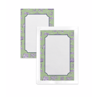 Katie Kime New Orleans Toile Notepad- Green Lavender