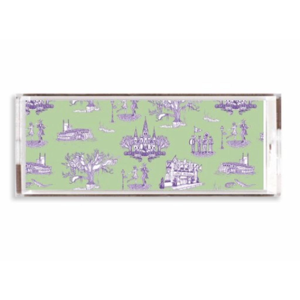 Katie Kime New Orleans Toile Lucite Tray- 11x4/ Green Lavender
