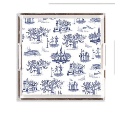 Katie Kime New Orleans Toile Lucite Tray- 12x12/ Navy