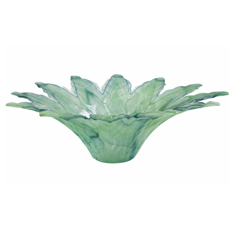 Vietri ONDA GLASS GREEN LEAF LARGE CENTERPIECE