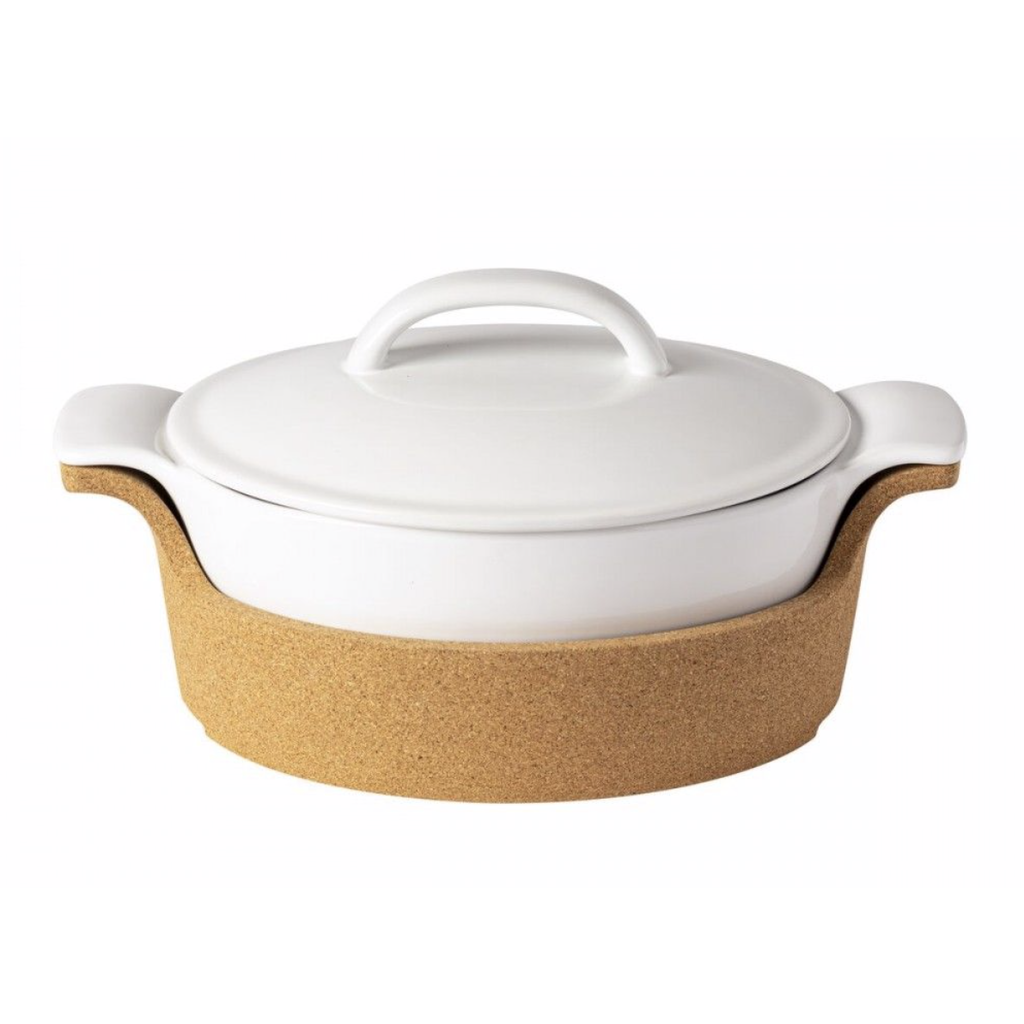 Casafina Oval Covered Casserole with Cork Tray - White