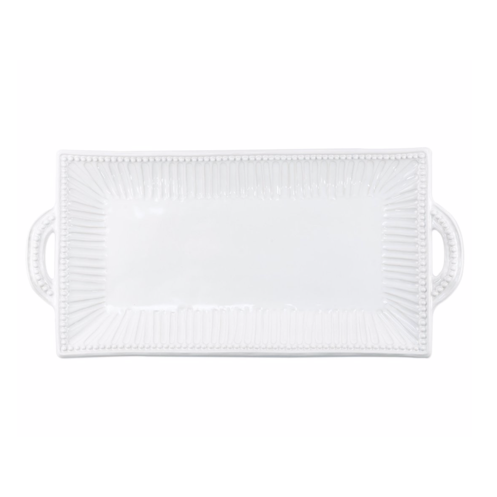 Vietri Incanto Stone White Stripe Handled Rectangular Platter