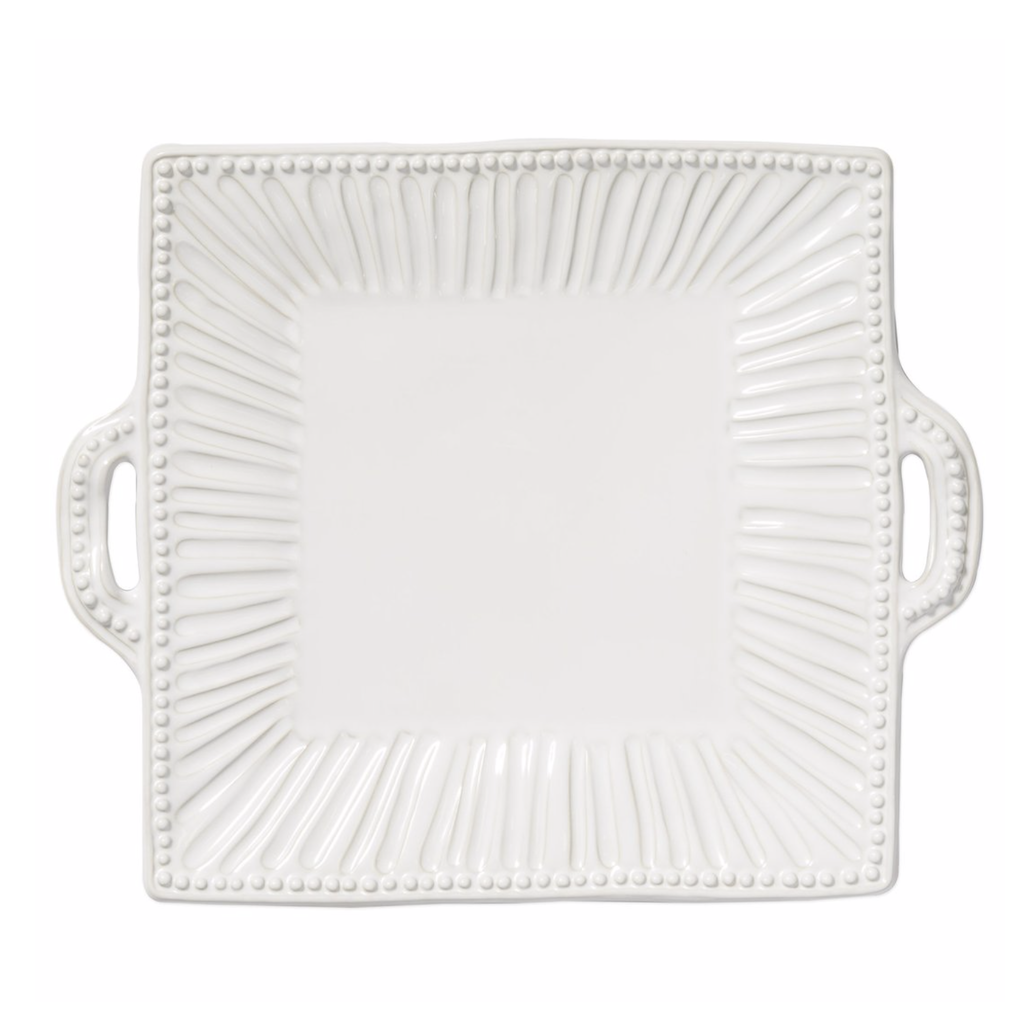 Vietri Incanto Stone White Stripe Handled Square Platter