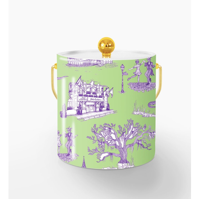 Katie Kime New Orleans Toile Ice Bucket- Green Lavender/ Lucite
