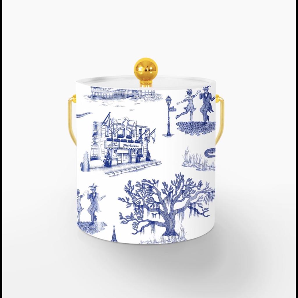 Katie Kime New Orleans Toile Ice Bucket- Navy/ Gold