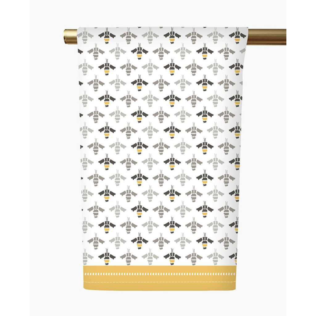 Honey and Hank Mississippi Bees Tea Towel- Grey/Yellow