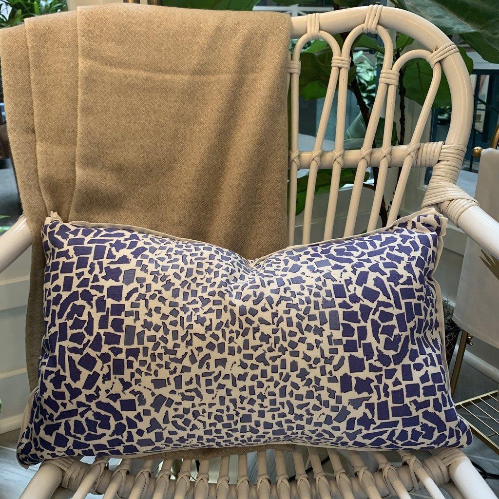 Honey and Hank Fifty States Leopard Lumbar Pillow- Spode Blue