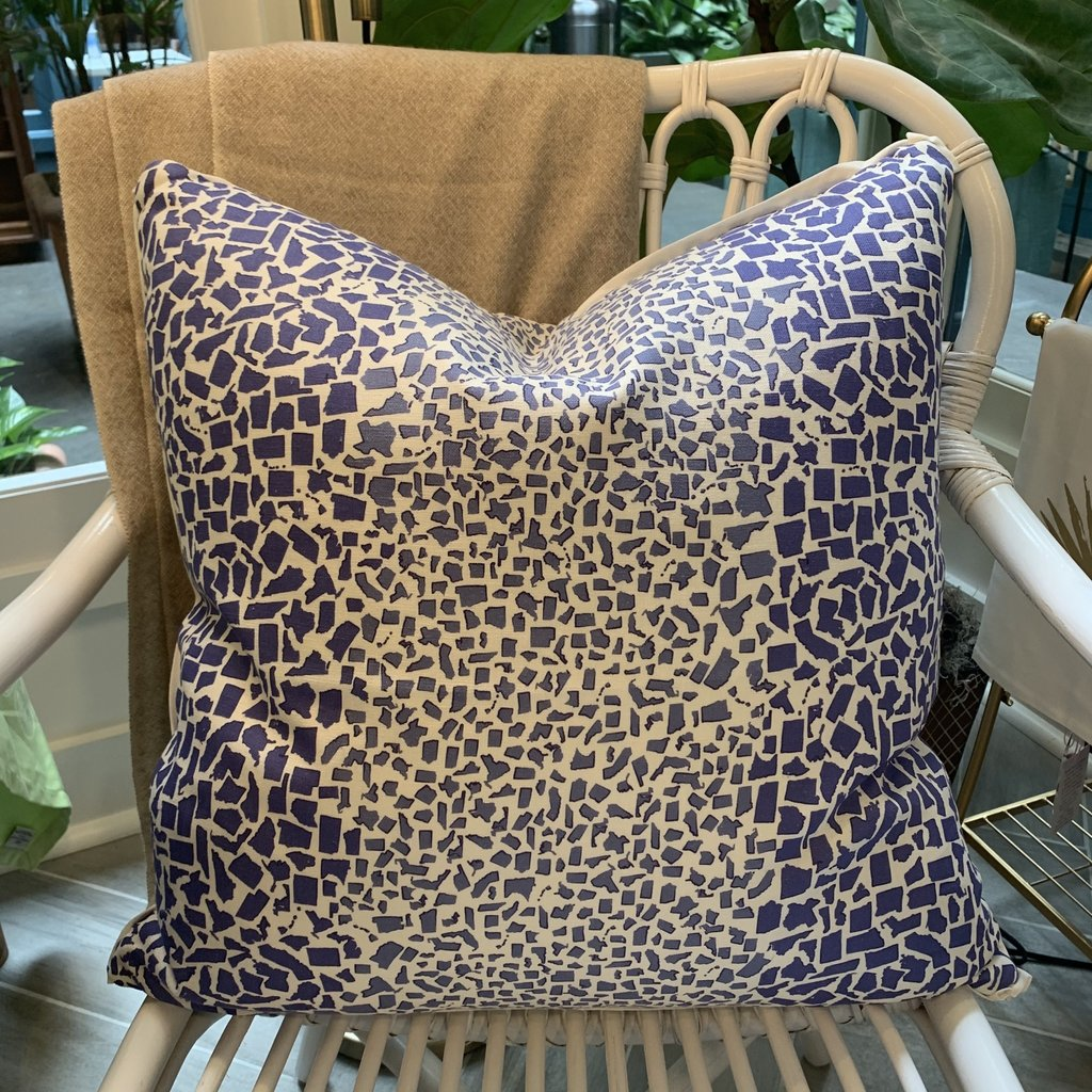 Honey and Hank Fifty State Leopard Square Pillow- Spode Blue